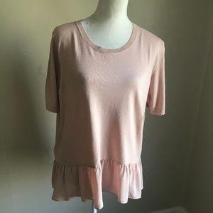Loft Short Sleeve Peplum Top in Blush.  Size XL